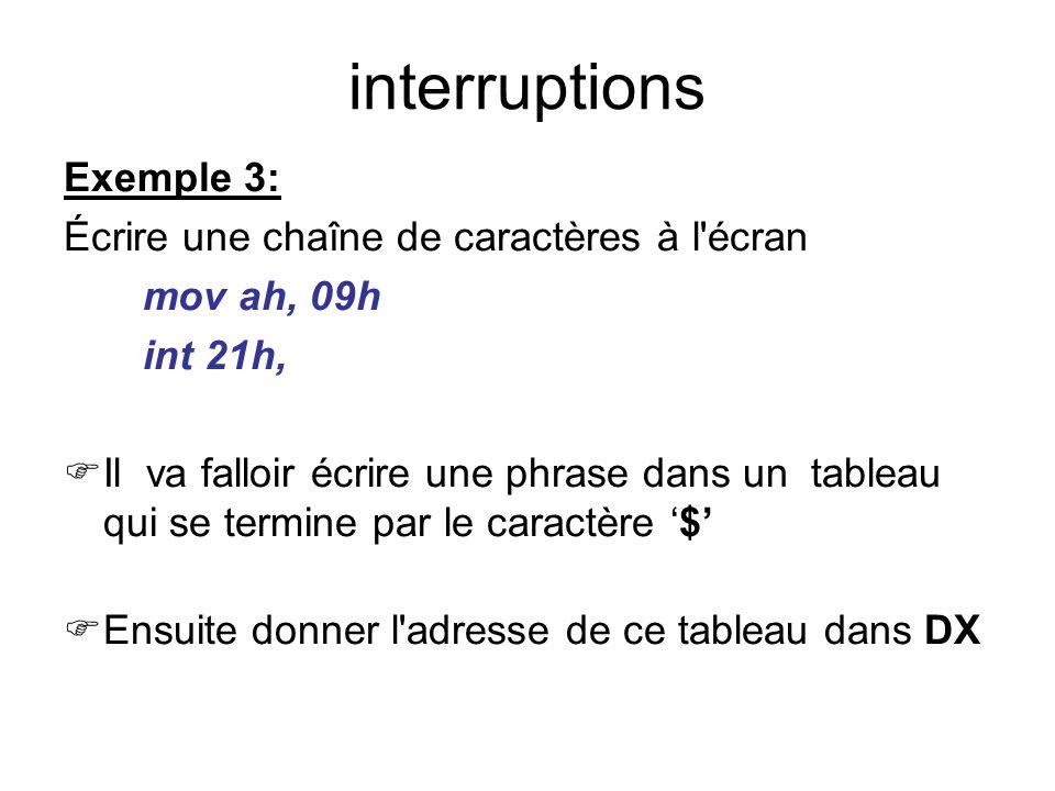 interruptions Exemple 3: Écrire une chaîne de caractères à l écran