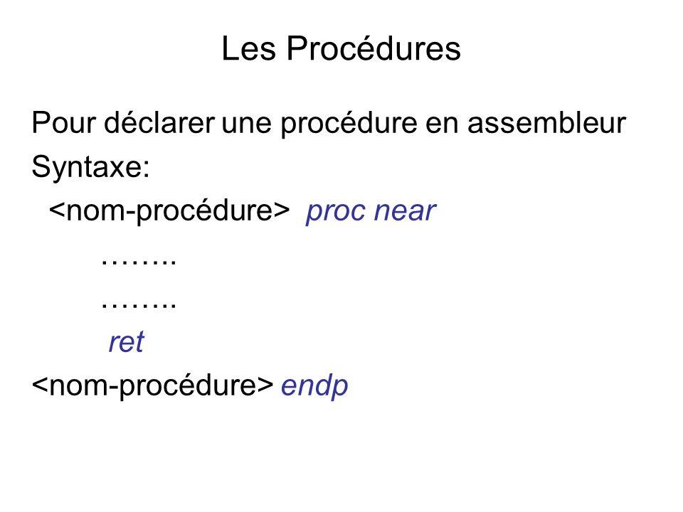 Les Procédures Pour déclarer une procédure en assembleur Syntaxe: