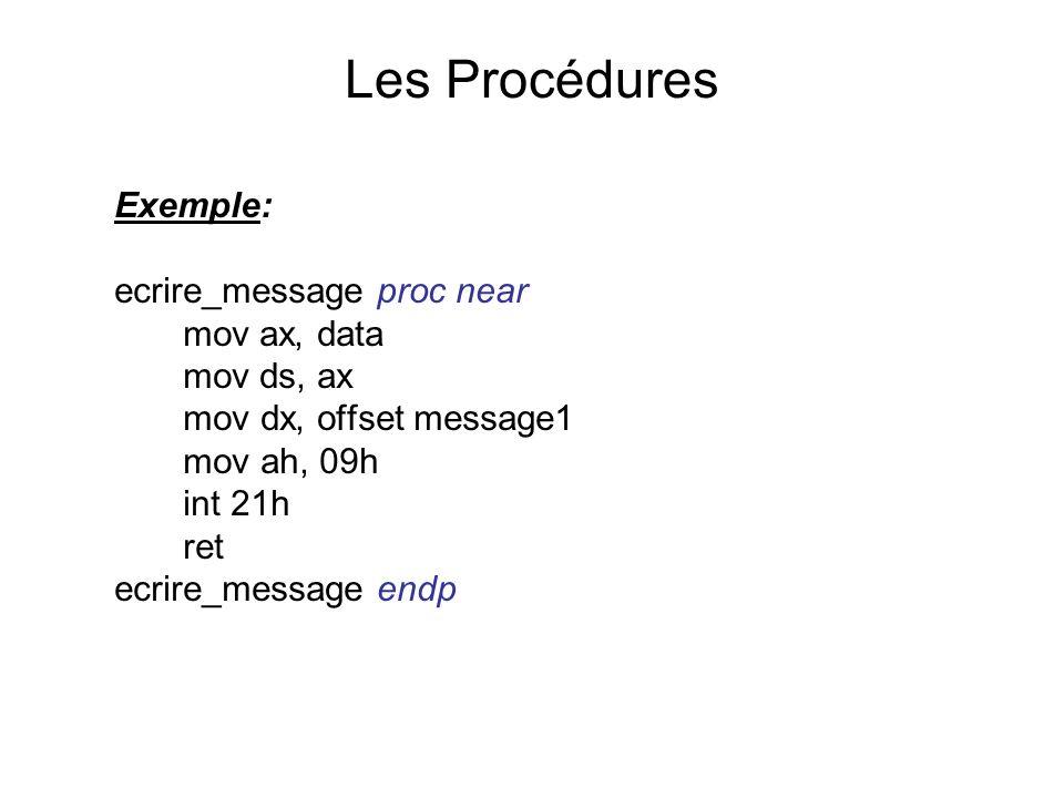 Les Procédures Exemple: ecrire_message proc near mov ax, data