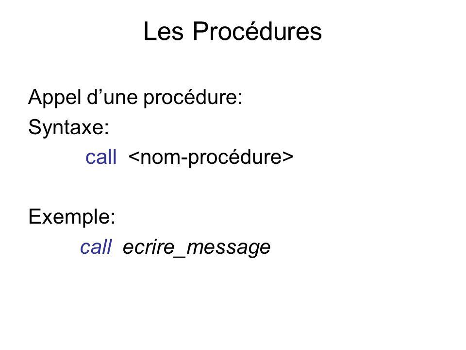 Les Procédures Appel d'une procédure: Syntaxe: