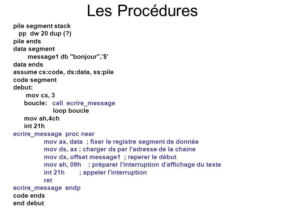 Les Procédures pile segment stack pp dw 20 dup ( ) pile ends