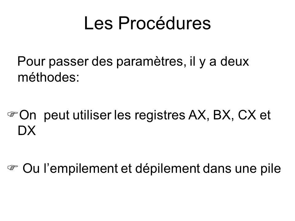 Les Procédures Pour passer des paramètres, il y a deux méthodes: