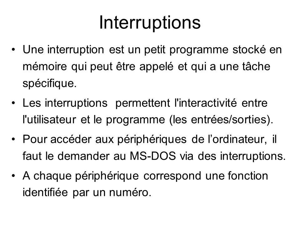 Interruptions Une interruption est un petit programme stocké en mémoire qui peut être appelé et qui a une tâche spécifique.