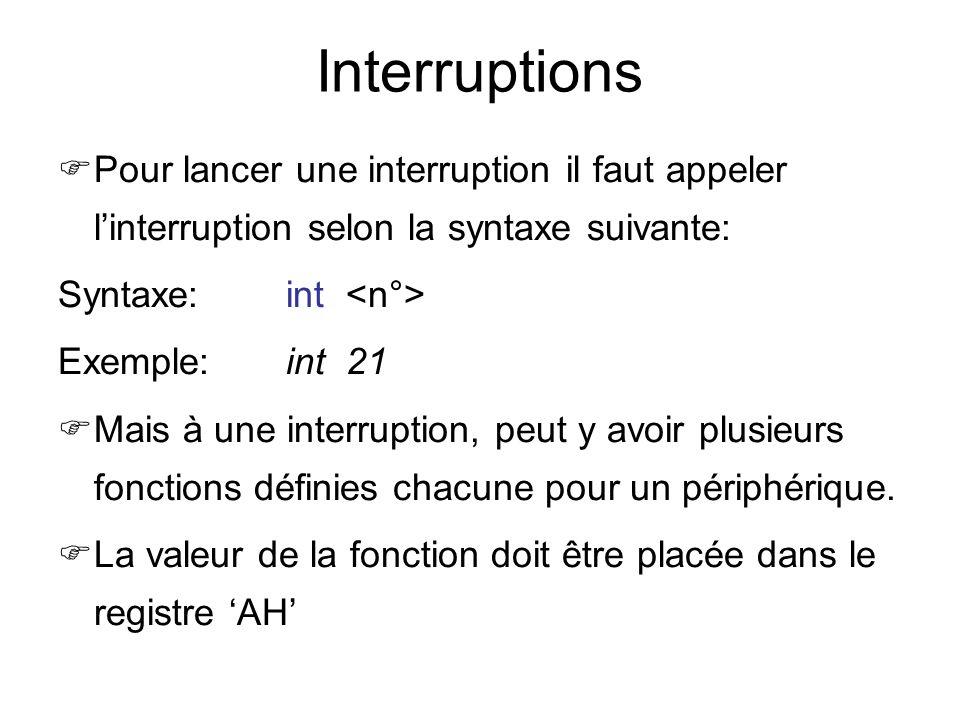 Interruptions Pour lancer une interruption il faut appeler l'interruption selon la syntaxe suivante: