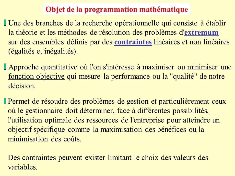 Objet de la programmation mathématique