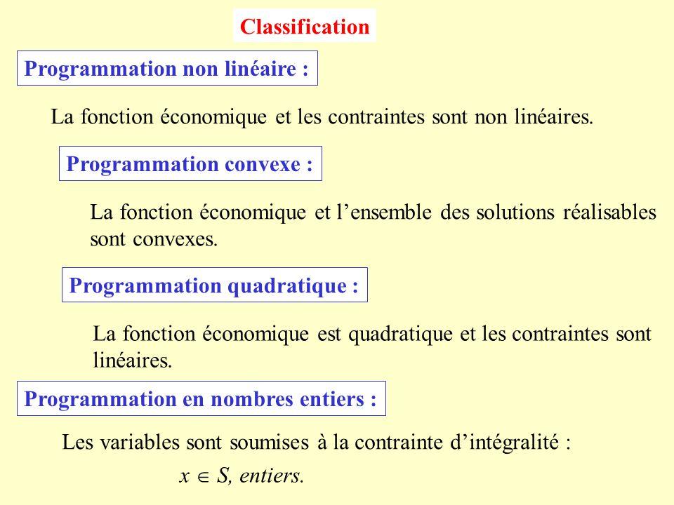 Classification Programmation non linéaire : La fonction économique et les contraintes sont non linéaires.
