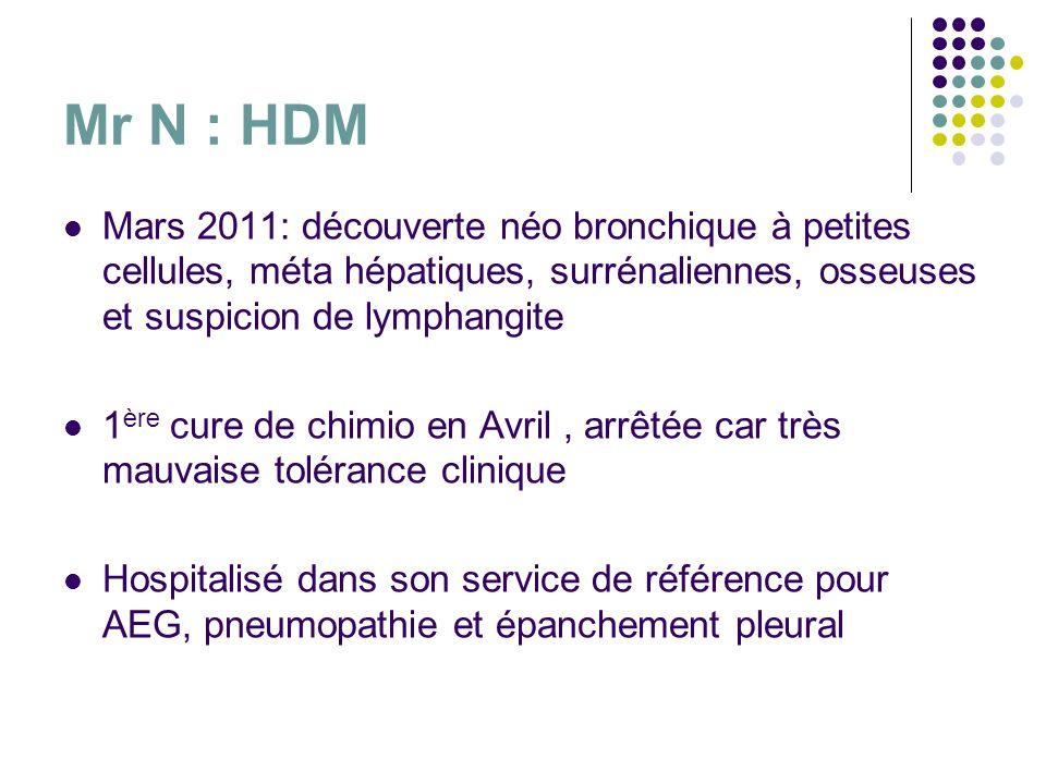 Mr N : HDM Mars 2011: découverte néo bronchique à petites cellules, méta hépatiques, surrénaliennes, osseuses et suspicion de lymphangite.