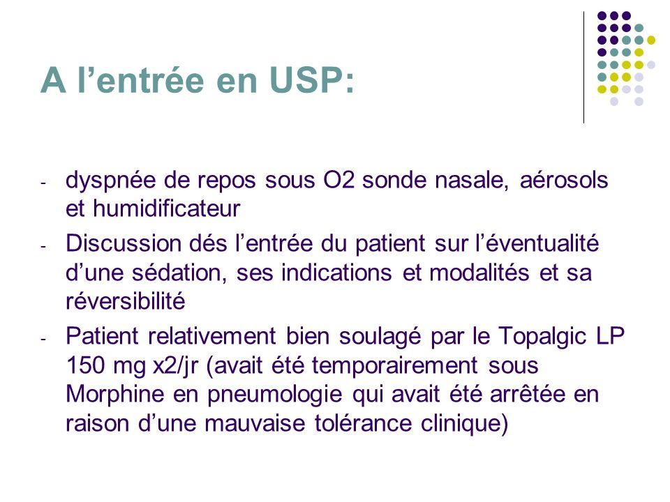 A l'entrée en USP: dyspnée de repos sous O2 sonde nasale, aérosols et humidificateur.