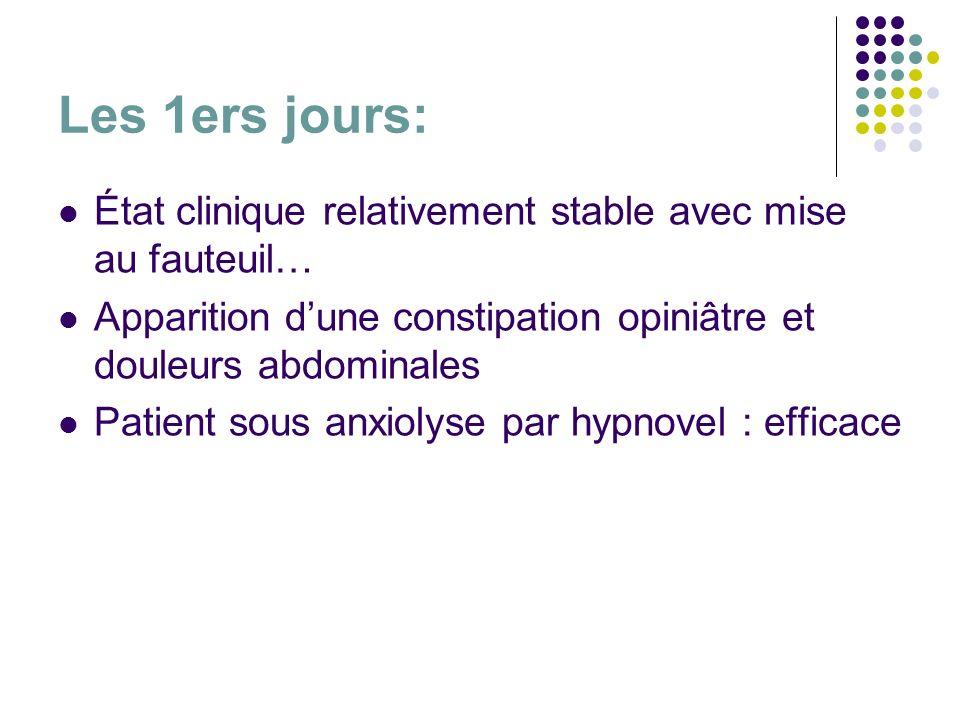 Les 1ers jours: État clinique relativement stable avec mise au fauteuil… Apparition d'une constipation opiniâtre et douleurs abdominales.