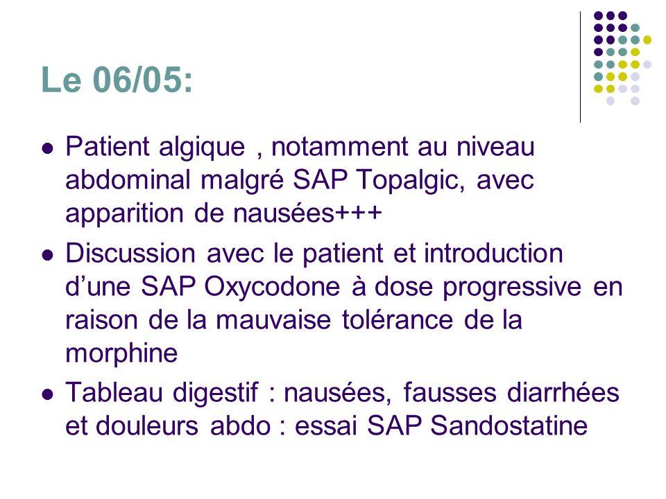Le 06/05: Patient algique , notamment au niveau abdominal malgré SAP Topalgic, avec apparition de nausées+++