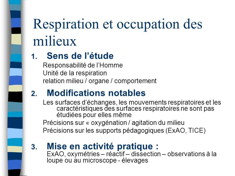 Respiration et occupation des milieux