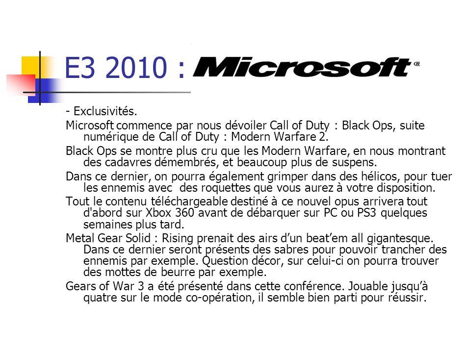E3 2010 : - Exclusivités. Microsoft commence par nous dévoiler Call of Duty : Black Ops, suite numérique de Call of Duty : Modern Warfare 2.