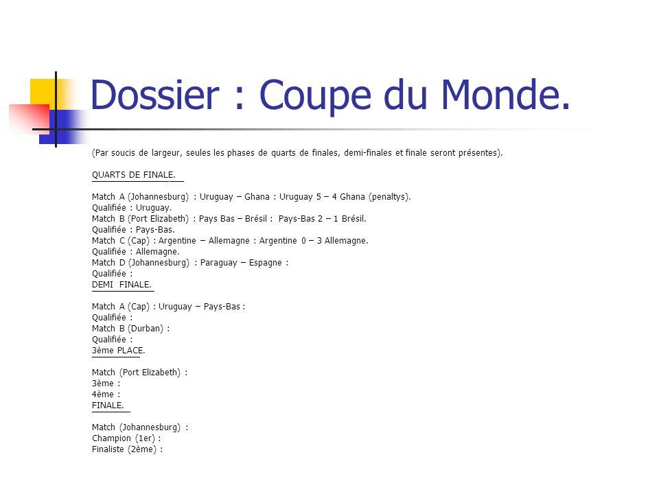 Dossier : Coupe du Monde.