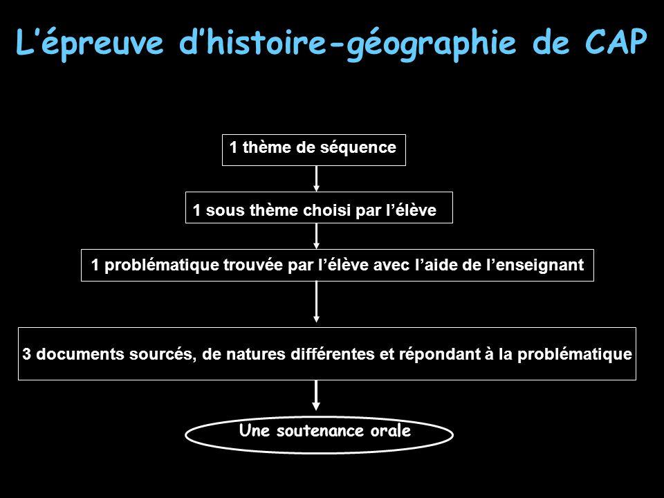 L'épreuve d'histoire-géographie de CAP