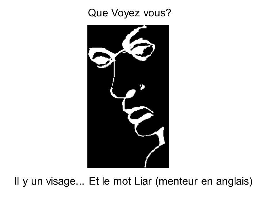 Il y un visage... Et le mot Liar (menteur en anglais)