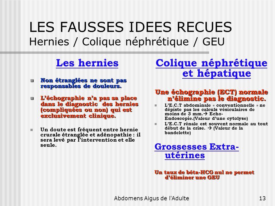 LES FAUSSES IDEES RECUES Hernies / Colique néphrétique / GEU