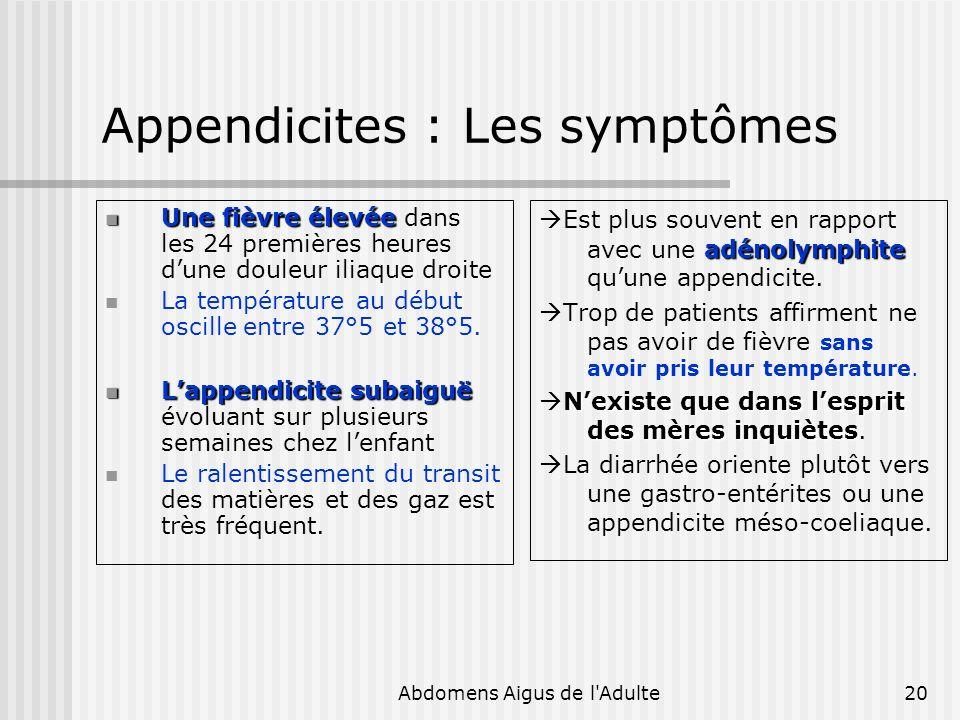 Appendicites : Les symptômes