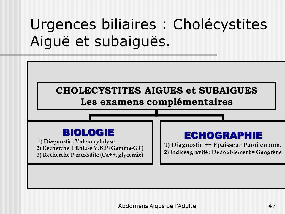 Urgences biliaires : Cholécystites Aiguë et subaiguës.