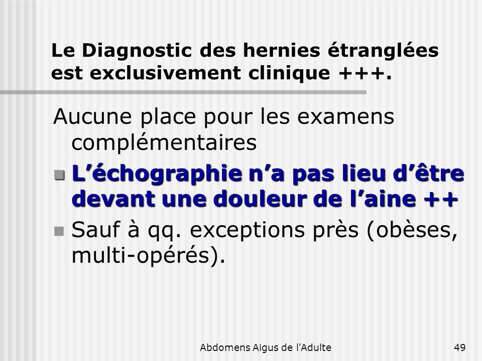 Le Diagnostic des hernies étranglées est exclusivement clinique +++.