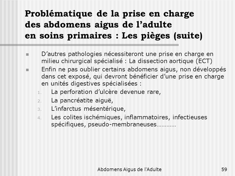 Urgenges Chirurgicales en 2006 : Place des examens complémentaires