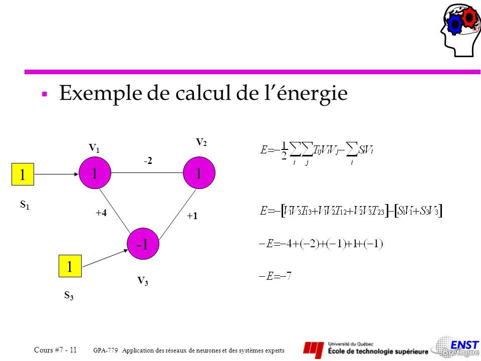 Exemple de calcul de l'énergie