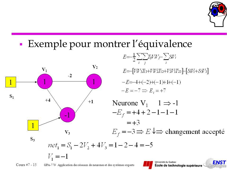 Exemple pour montrer l'équivalence