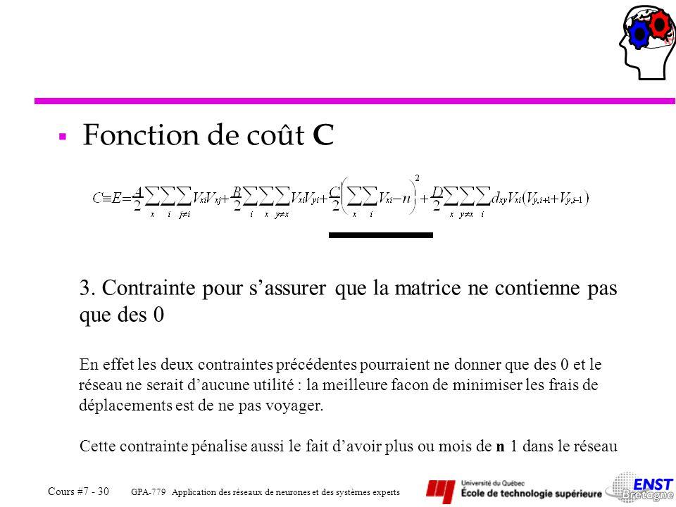 Fonction de coût C Contrainte pour s'assurer que la matrice ne contienne pas que des 0.