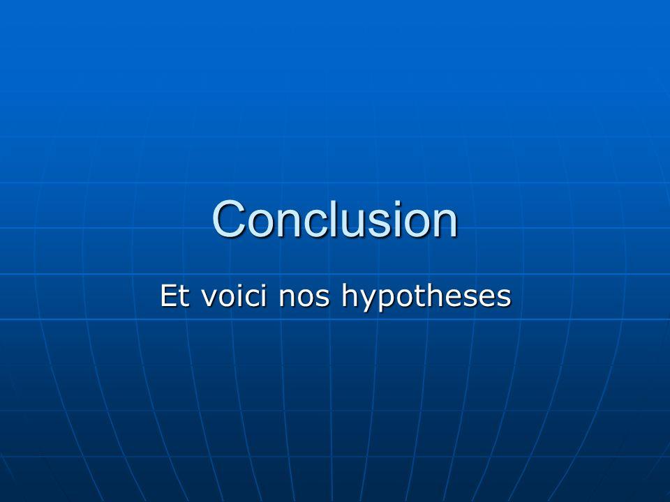 Et voici nos hypotheses