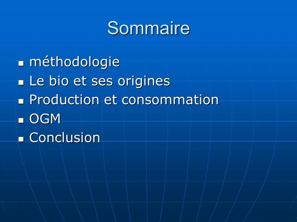 Sommaire méthodologie Le bio et ses origines
