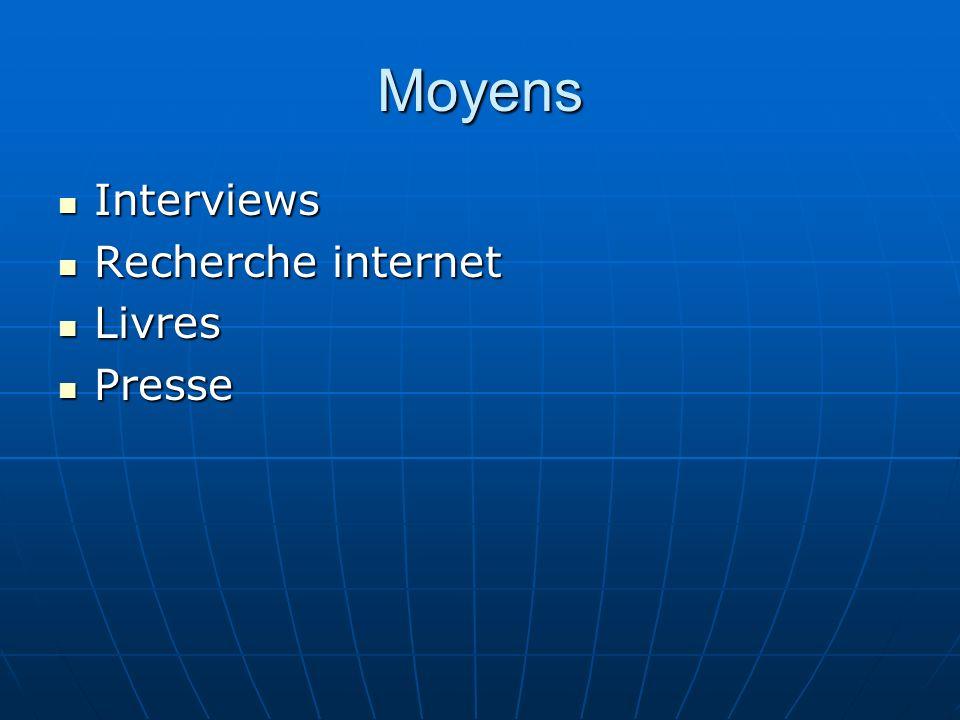 Moyens Interviews Recherche internet Livres Presse