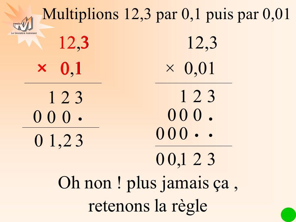 Multiplions 12,3 par 0,1 puis par 0,01