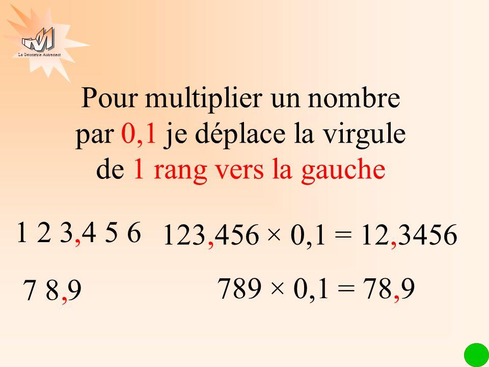 Pour multiplier un nombre par 0,1 je déplace la virgule