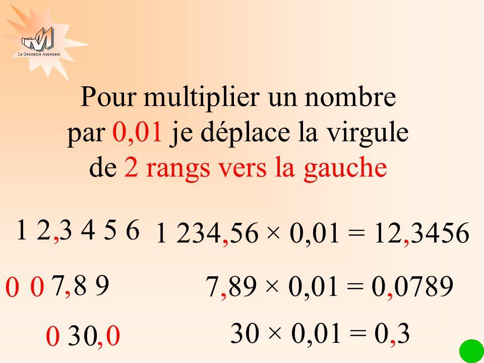 Pour multiplier un nombre par 0,01 je déplace la virgule