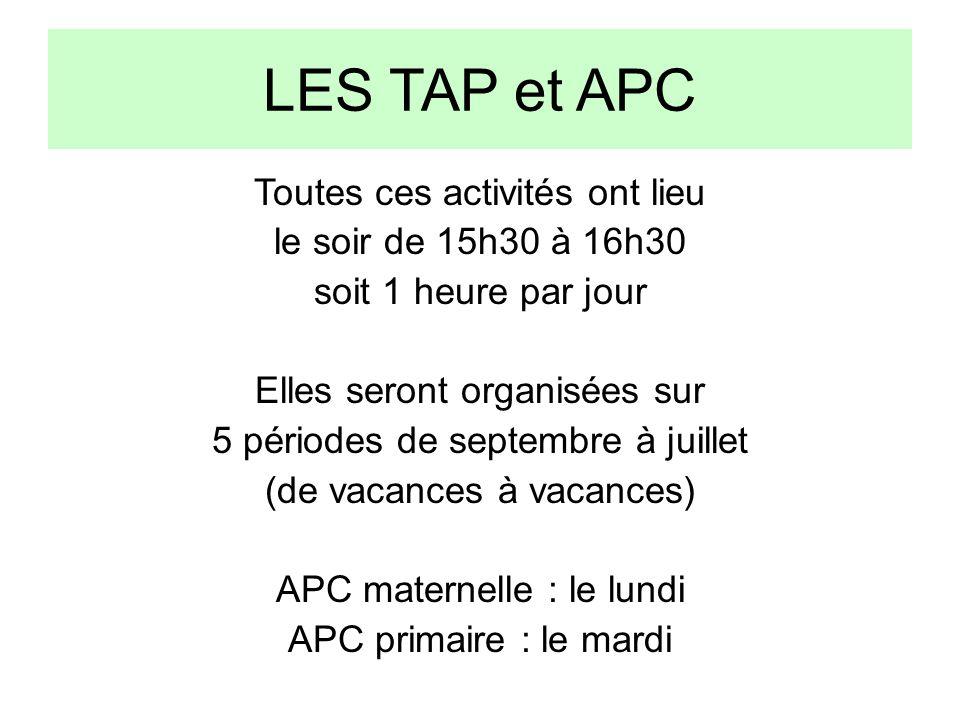 LES TAP et APC Toutes ces activités ont lieu le soir de 15h30 à 16h30