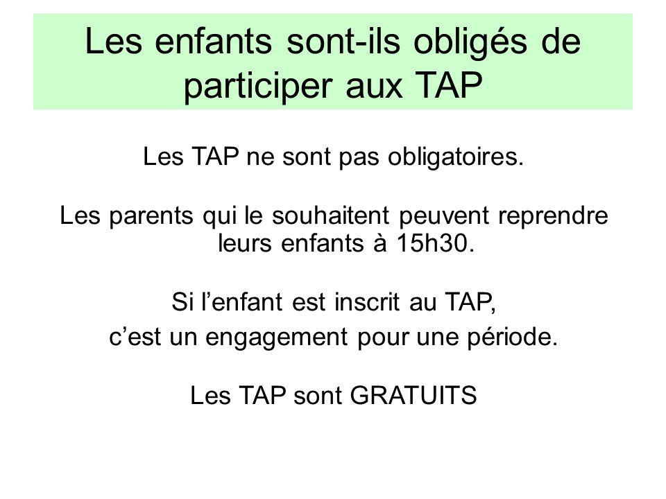 Les enfants sont-ils obligés de participer aux TAP