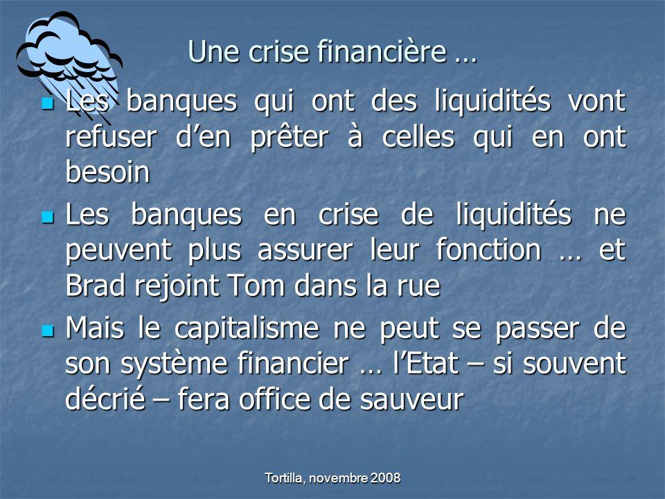 Une crise financière …Les banques qui ont des liquidités vont refuser d'en prêter à celles qui en ont besoin.