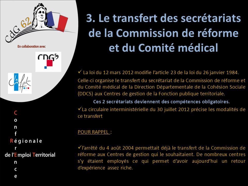 3. Le transfert des secrétariats de la Commission de réforme