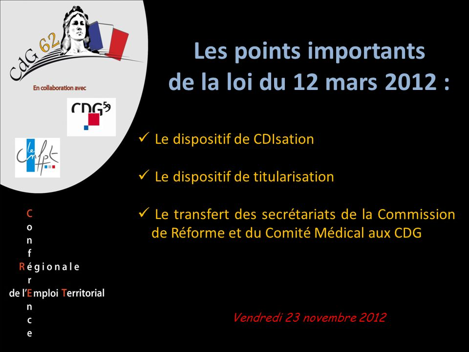 Les points importants de la loi du 12 mars 2012 :