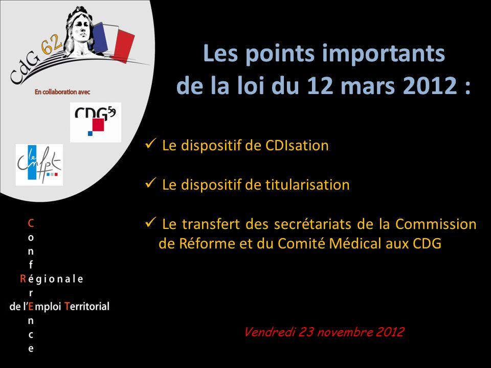 Les points importants de la loi du 12 mars 2012 :