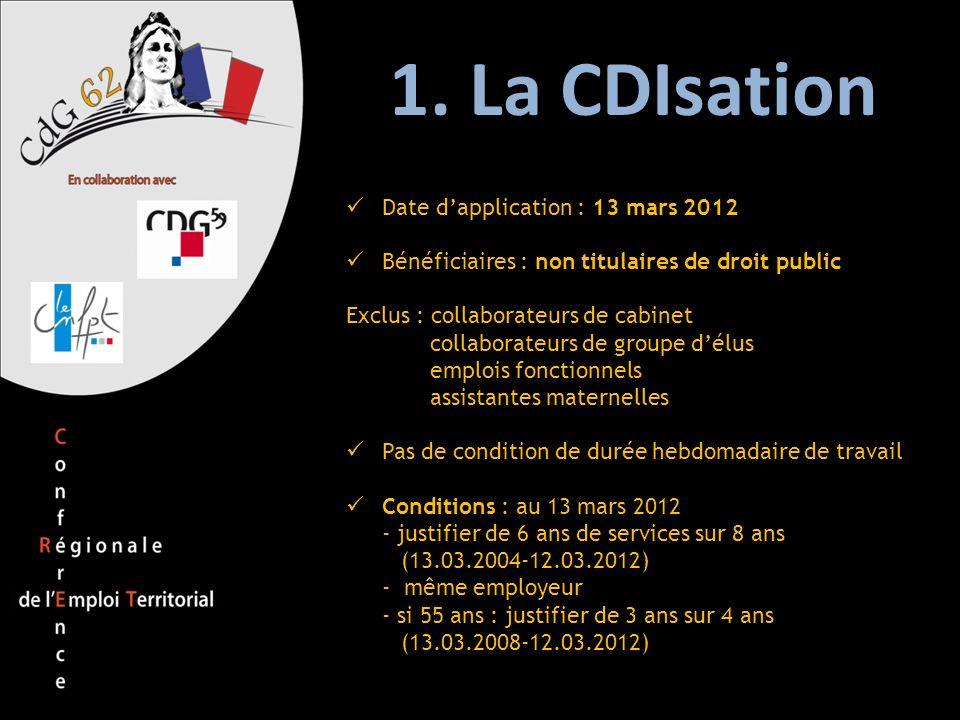 1. La CDIsation Date d'application : 13 mars 2012