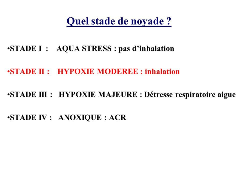 Quel stade de noyade STADE I : AQUA STRESS : pas d'inhalation