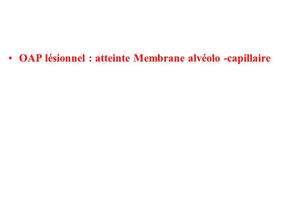 OAP lésionnel : atteinte Membrane alvéolo -capillaire