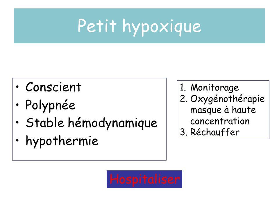 Petit hypoxique Conscient Polypnée Stable hémodynamique hypothermie