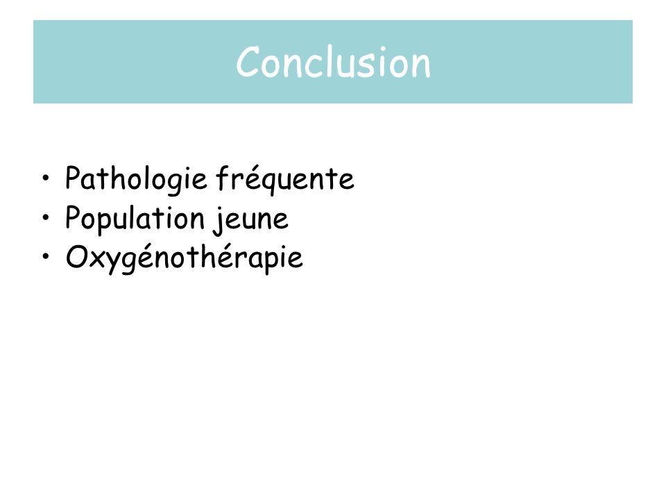 Conclusion Pathologie fréquente Population jeune Oxygénothérapie
