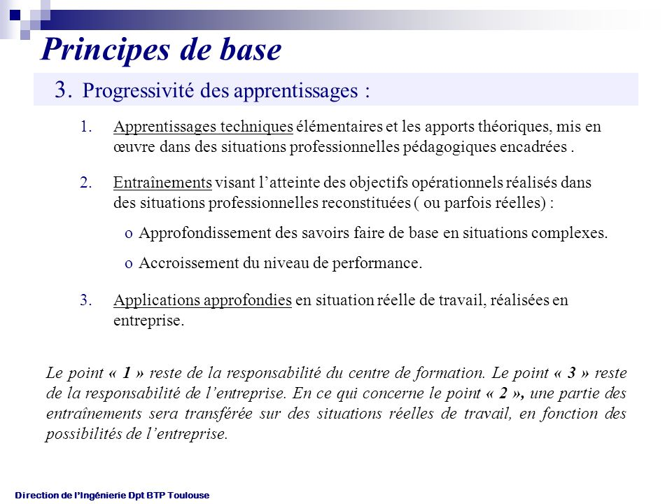 Principes de base Progressivité des apprentissages :
