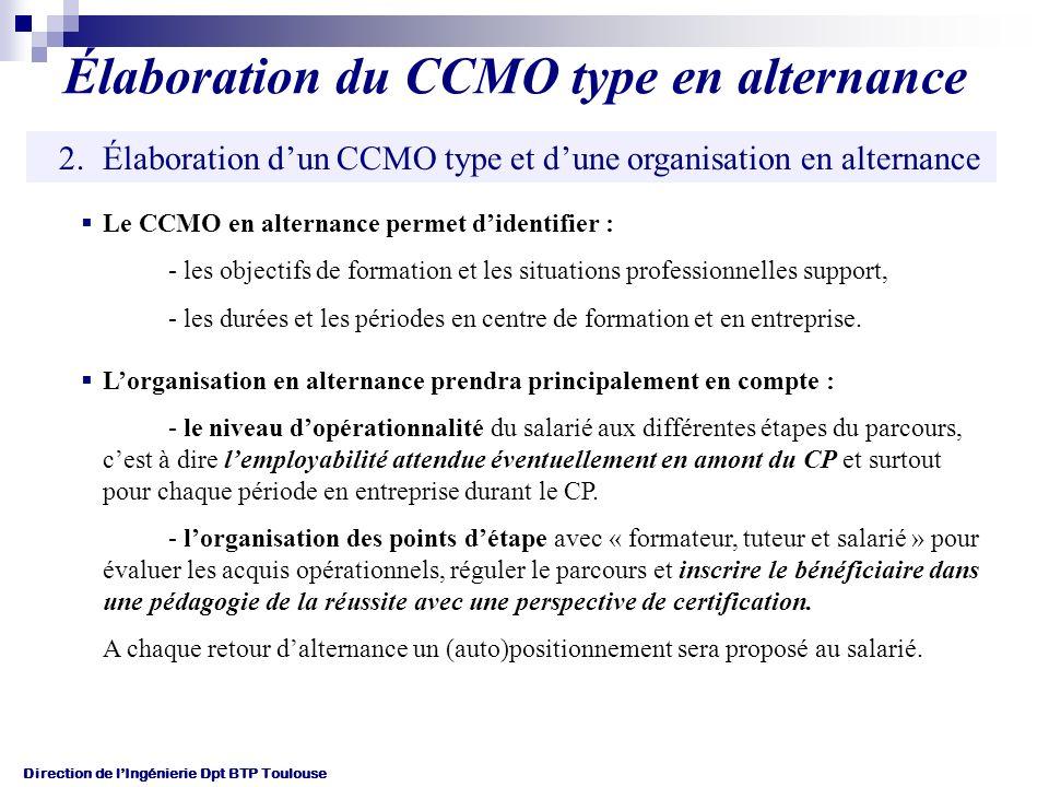 Élaboration du CCMO type en alternance