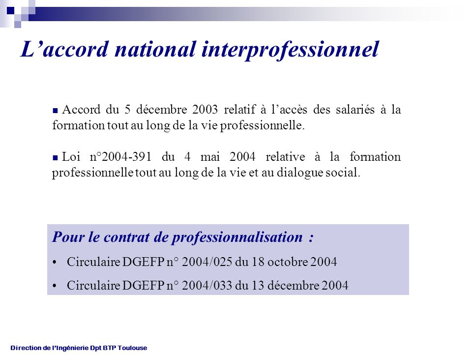 L'accord national interprofessionnel