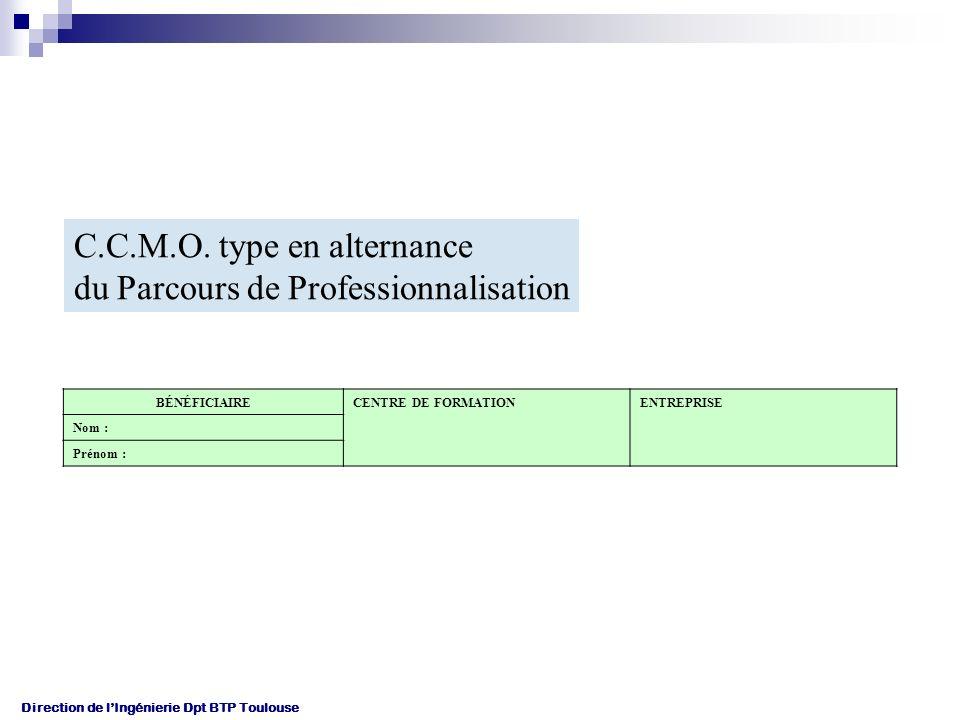 C.C.M.O. type en alternance du Parcours de Professionnalisation