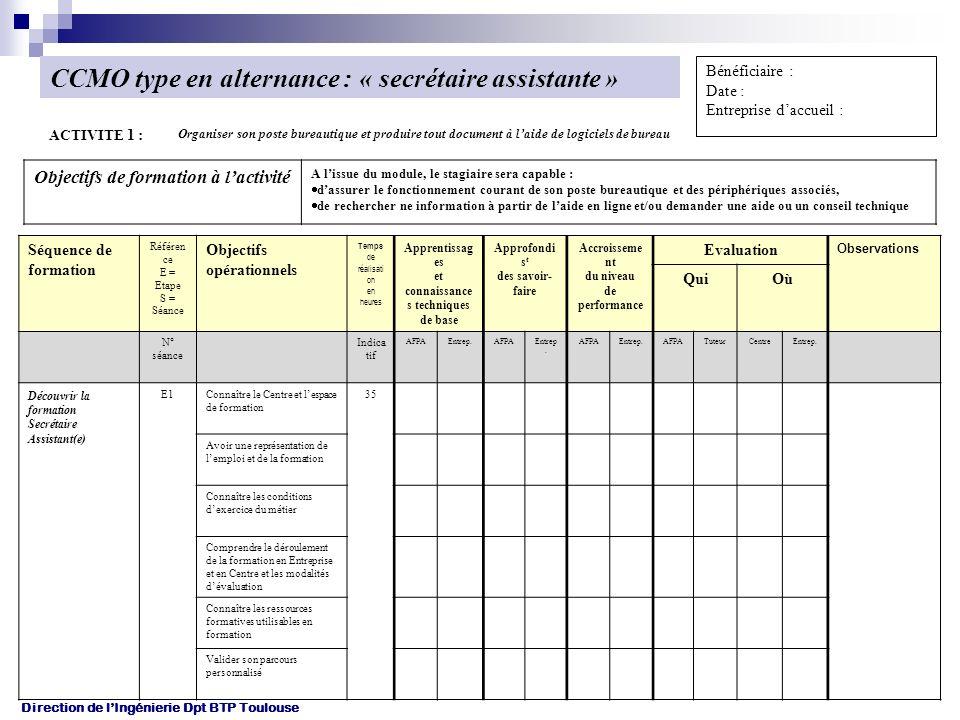 CCMO type en alternance : « secrétaire assistante »