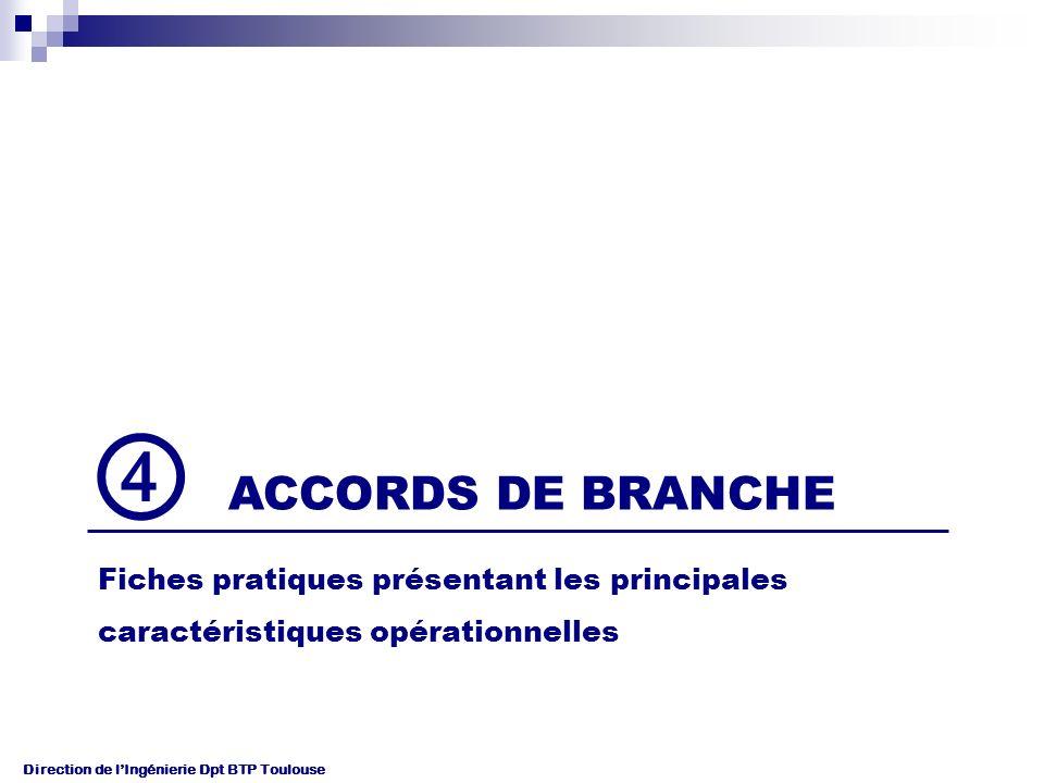 ④ ACCORDS DE BRANCHE Fiches pratiques présentant les principales
